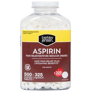 Berkley Jensen Aspirin 325mg, 500 Count Bottle  Pain Reliever/Fever Reducer nonsteroidal anti-inflammatory drug (NSAID)  Safe pain relief plus lifesaving benefits compared to the active ingredient in Bayer Aspirin.  500 coated tablets, 325 mg each  Temporarily relieves headache, muscle pain, toothache, menstrual pain, pain and fever of cold and minor pain of arthritis