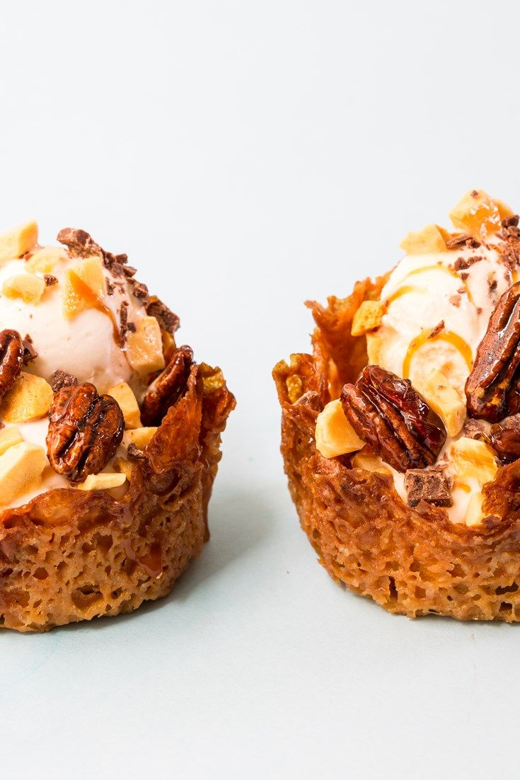 Dive into these decadent ice cream sundaes, served with lemon caramel sauce, honeycomb ice cream and caramelised pecans.