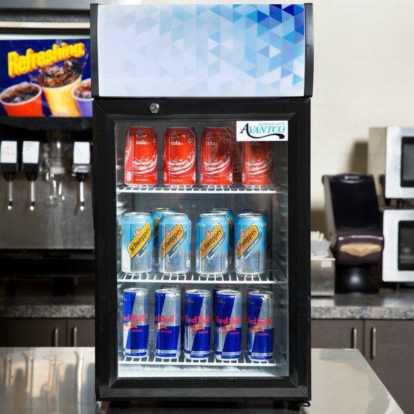 Avantco Sc 52 Black Countertop Display Refrigerator With Swing