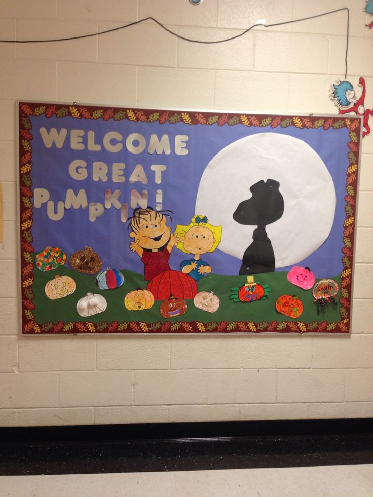 My fall bulletin board. It's the great pumpkin, Charlie Brown!