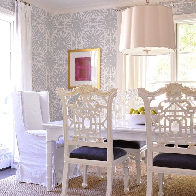 Ashley Goforth Design   Dining Rooms  Chairs With Navy Seats