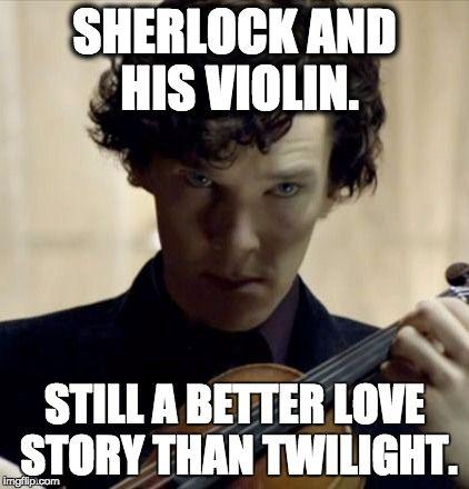 Sherlock and his violin                                                                                                                                                      More