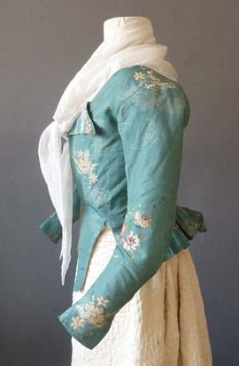 Turquoise silk taffeta brocade caracao (jacket), probably English, 1780's.