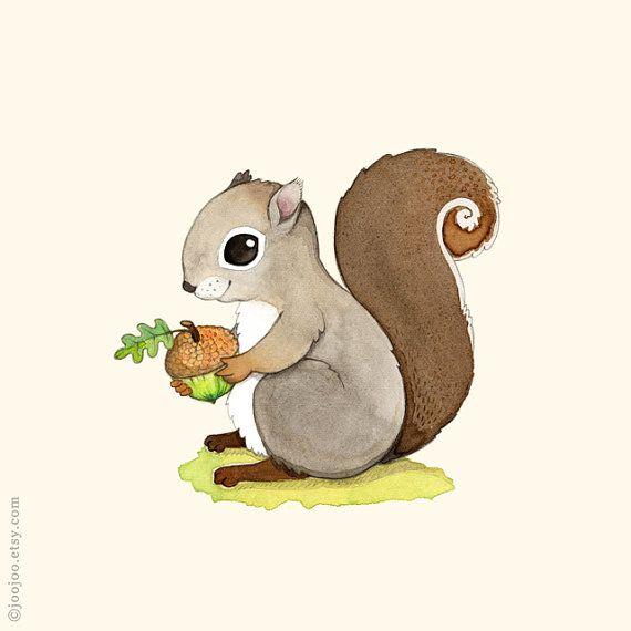woodland nursery, squirrel print, squirrel painting, woodland animal, Animal…