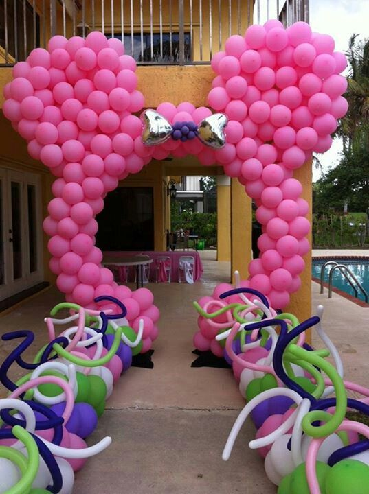 Minnie mouse balloons arch decorations ideas pinterest for Balloon arch decoration ideas