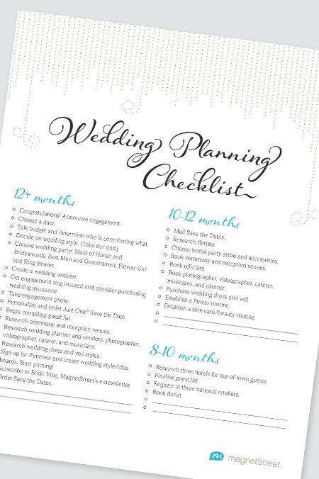 Wedding Planning Checklist | Free PDF Wedding Checklist from MagnetStreet