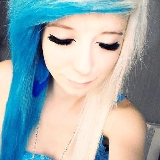 White and electric blue hair Electric Blue Hair