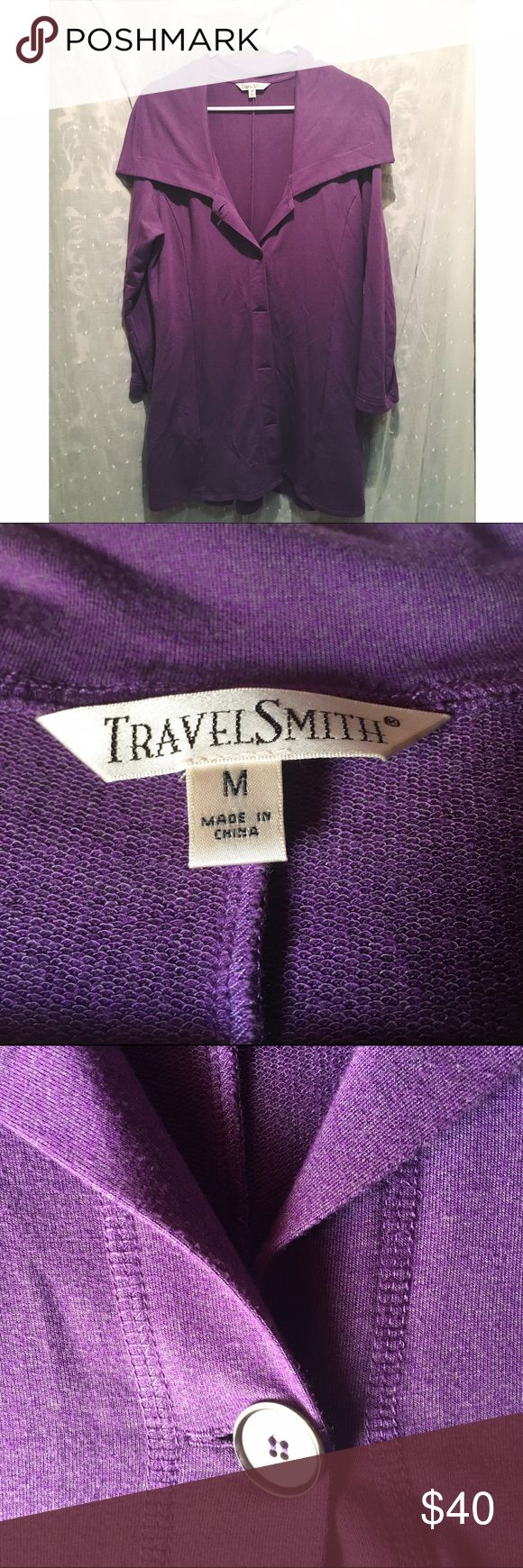 TravelSmith Fitted Jacket - Heather Purple, Medium This is a gorgeous piece for your fall wardrobe. Soft fabric, cute button details in a beautiful heather purple fabric. 💜 TravelSmith Jackets & Coats Blazers