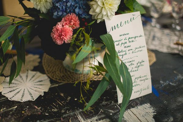 calligraphy menu http://weddingwonderland.it/2015/04/matrimonio-industriale-ispirato-all-arte.html