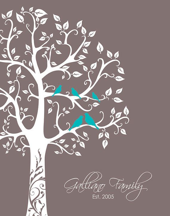 Personalized anniversary print gift, family tree with lovebirds and babies, great shower or housewarming gift idea