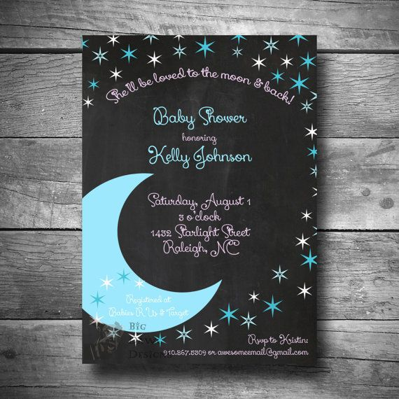 moon and stars baby boy shower invitation to the moon and back theme baby shower