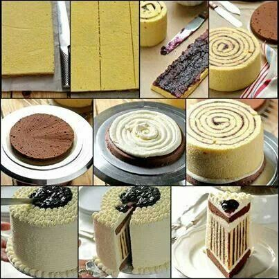 Jelly roll-style chocolate cake