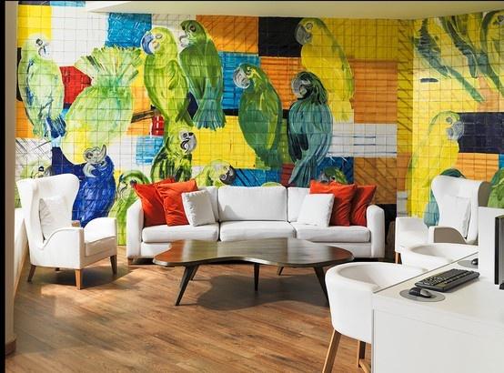 Colorido Mural para la entrada del Hotel H10 en Fuerteventura. #Azulejos #ArtAntic