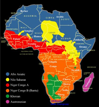 Map showing the distribution of African language families and some major African languages. www.nationsonline.org
