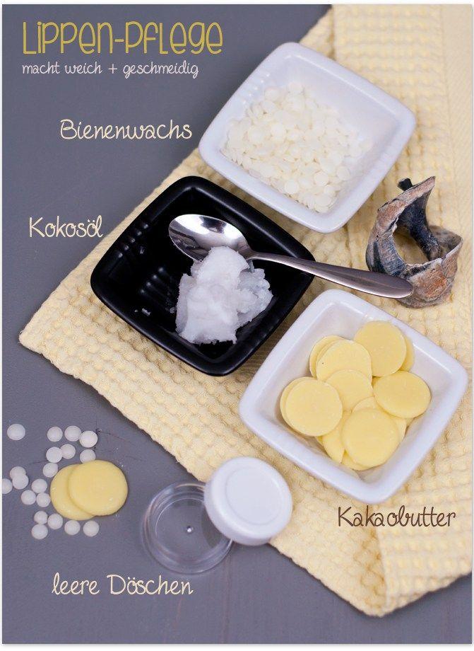 Lippenpflege mit Kokosöl, Bienenwachs und Kakaobutter