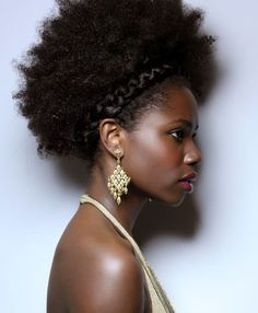 Get this style! Cantu pomade keeps the braid and edges in place.  Two strand twist, then out, the rest with Twist and Lock Gel, or wash and go with Curl Activator Cream. Don't forget the chandelier earrings.