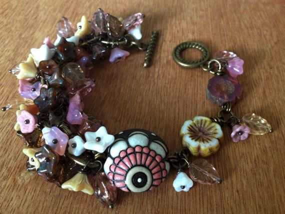 Pink Chocolate and White floral cluster by FloatingVintage on Etsy, £25.00