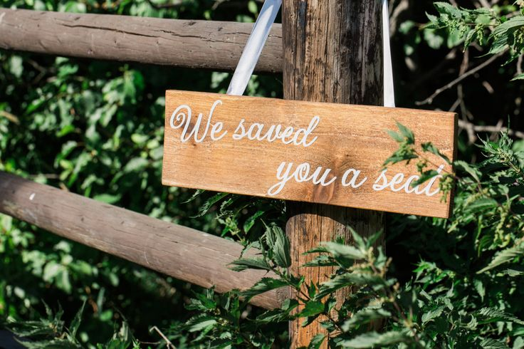 Wood Wedding & Reception Signs w/ White Vinyl Script. Guest directions map from ceremony to reception. Taco Bar, Cocktail Hour, Party Path by fortheloveofpeace on Etsy
