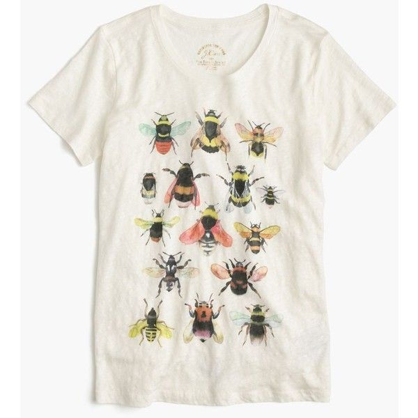 Women's J.Crew For The Xerces Society Save The Bees T-Shirt ($54) ❤ liked on Polyvore featuring tops, t-shirts, tees, white tee, linen tee, bumble bee t shirt, bee t shirt and j crew t shirts