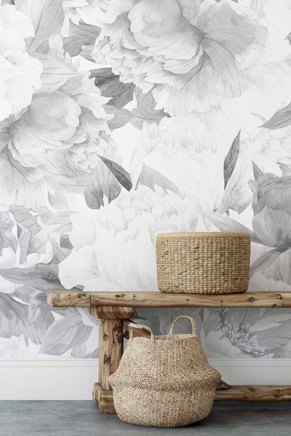 Removable Wallpaper With Peonies In Bloom Pattern Monochrome Etsy Removable Wallpaper Nursery Wallpaper Vinyl Wallpaper