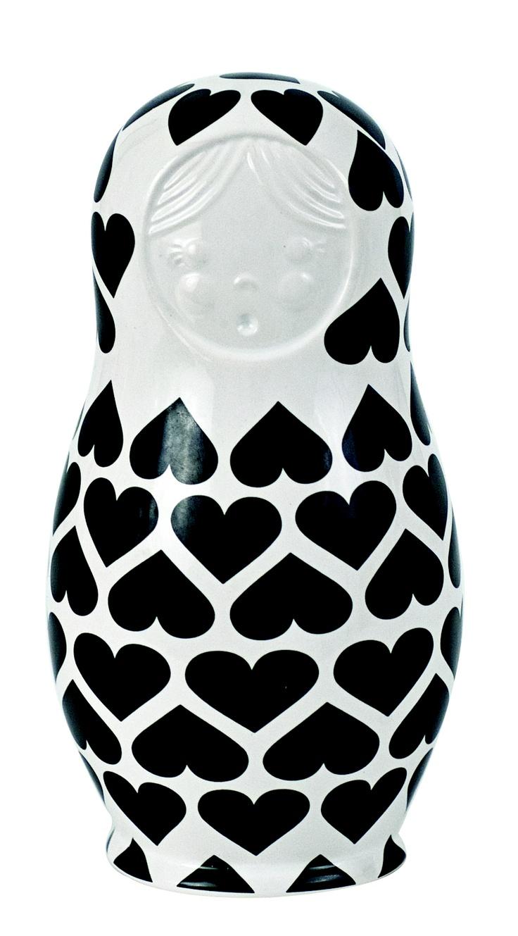 S Babushka Doll - Black Hearts  Price: $14.95: Kokeshi Dolls, Vicious Dolls, Nests Dolls, Matryoshka Dolls