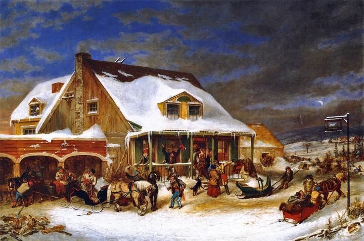 "Cornelius Krieghoff (Dutch-born Canadian painter, 1815-1872) - ""After the Ball, Chez Jolifou"""