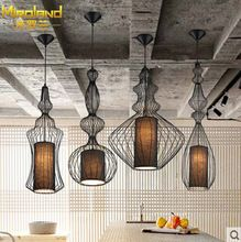 Modern home decoration black/white dining room iron chandelier bird cage coffee shop light bar light free shipping(China (Mainland))