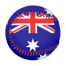 Patriotic baseball with flag of Australia