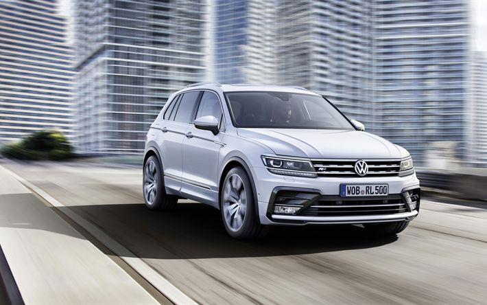 Descargar fondos de pantalla 4k, Volkswagen Tiguan, 2018 coches, carreteras, cruces, blanco Tiguan, los coches alemanes, Volkswagen