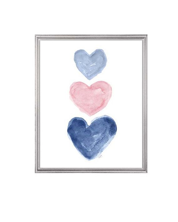 Pale Pink and Navy Girls Decor Pink and Navy by OutsideInArtStudio