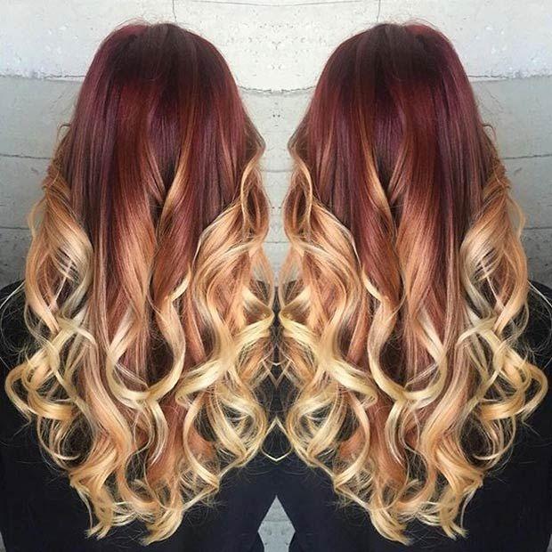 21-Red & Blonde Balayage Haar                                                                                                                                                                                 Mehr