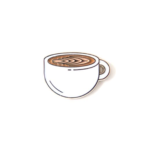 "omg I need this in my life. For the foamed dairy lovers. Rep the Latte pin. - Silver Metal - .75"" Wide - Black Rubber clutch"