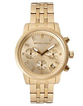Enlarge Michael Kors Gold & Crystal Chronograph Watch