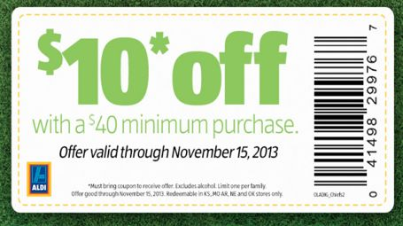 Rare Aldi $10 Off $40 Coupon!