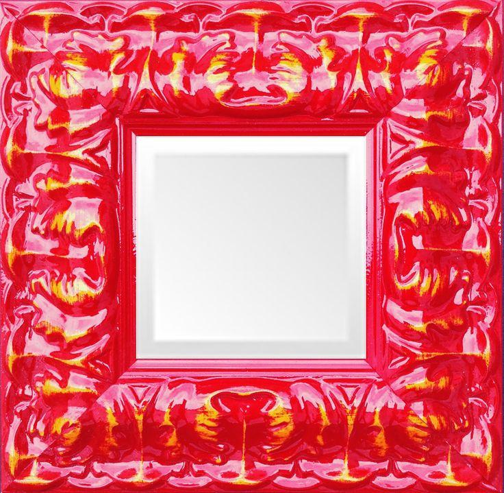 Baroque Shiny Red Lacquer Small Ornate Mirror