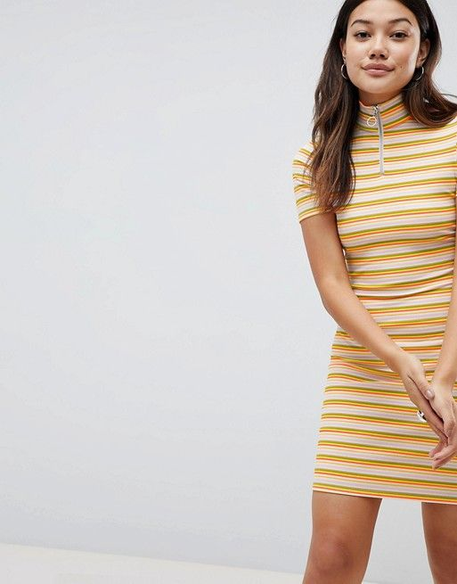5cb66ffea77 Daisy Street Bodycon Dress With Zip In Neon Stripe