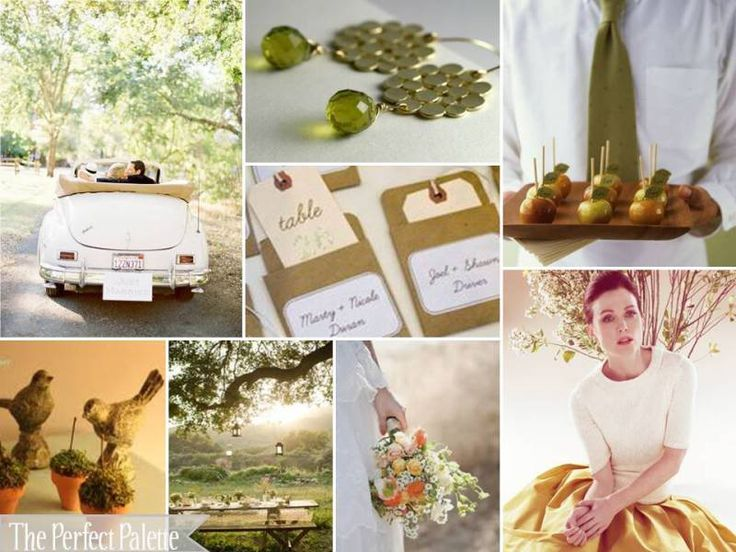 olive, peach, antique gold, camel, and white.