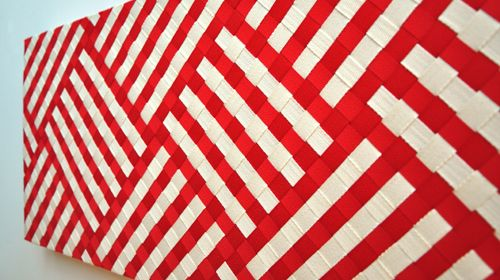 Annabelle Buick Kura Gallery Maori Art Design New Zealand Aotearoa Weaving Woven Panel Red Cream Grosgrain Ribbon Herringbone tape