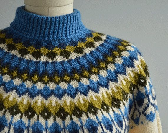 Vintage Nordic Sweater / 60s Hand Knit Wool Fair Isle ...