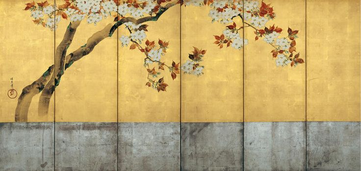 Blossoming Cherry Trees Artist: Sakai Hōitsu (Japanese, 1761–1828) Period: Edo period (1615–1868) Date: ca. 1805 Culture: Japan