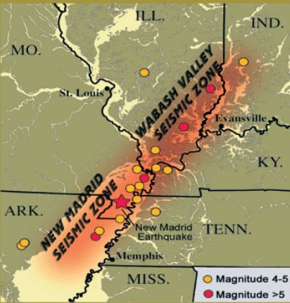 """New Madrid & Wabash Valley Seismic Zones Meers fault in Oklahoma  Oklahoma is """"riddled with faults"""" according to seismologist Andrew Holland. The Meers fault is the only place in the Sooner state where a fault line is visible. It's a straight line for almost 50 miles, near Lawton. Some 15 miles is clearly visible from the air."""