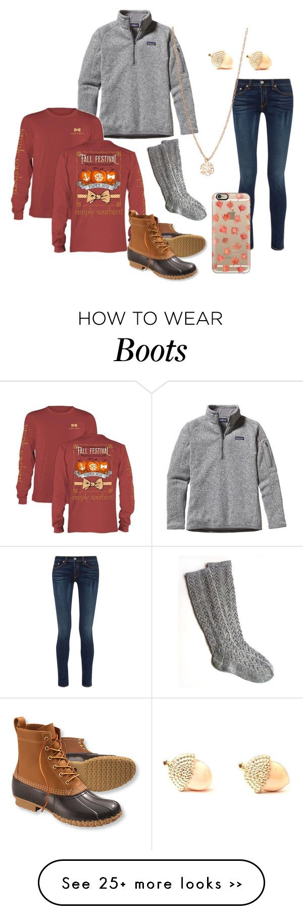 """A is for Autumn and Acorns and B is for Bean boots"" by lindsaythebrave on Polyvore featuring rag & bone, Casetify, Patagonia, L.L.Bean, Ginette NY and Alphabetofprep"
