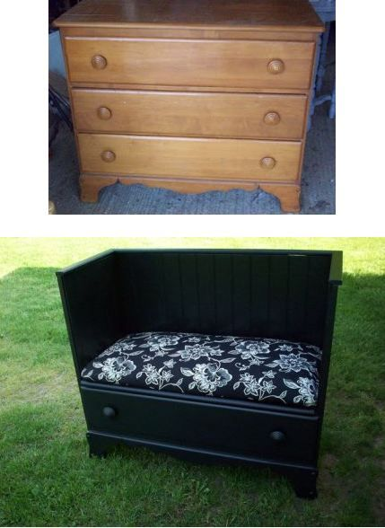 TUTO une commode devient siege  http://www.myrepurposedlife.com/2009/07/old-dresser-into-bench.html