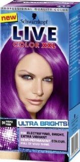 Live color XXL Ultra Brights 94 Purple Punk geeft een intensieve en heldere verkleuring op reeds geblondeerd haar en een een meer subtielere verkleuring op natuurlijk of geverfd haar.