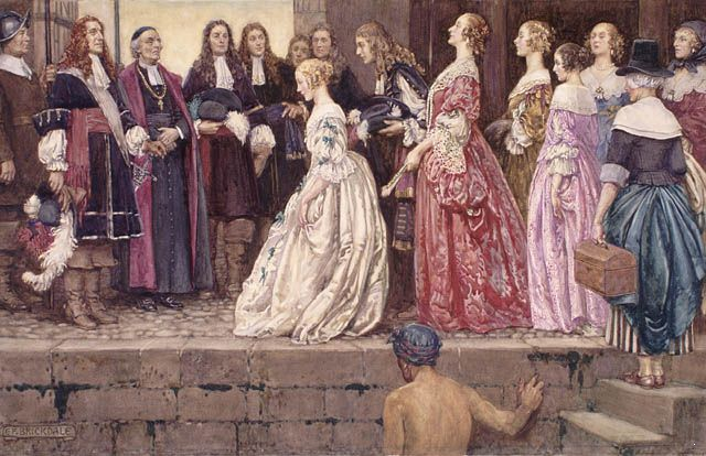 Arrival of the Brides by Eleanor Fortescue-Brickdale (c. 1927) (Filles du roi.)