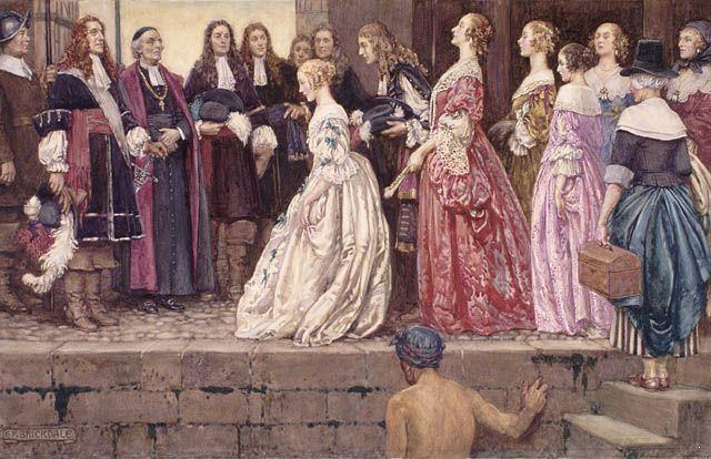 Arrival of the Brides by Eleanor Fortescue-Brickdale (c. 1927) (Filles du roi.)