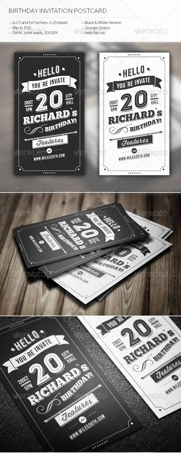 Best Invites Images On Pinterest Print Templates Invitation - Birthday invitation template graphicriver
