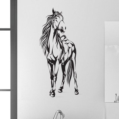 "Style and Apply Horse with Saddle Wall Decal Color: Golden Yellow, Size: 13"" H x 16"" W"