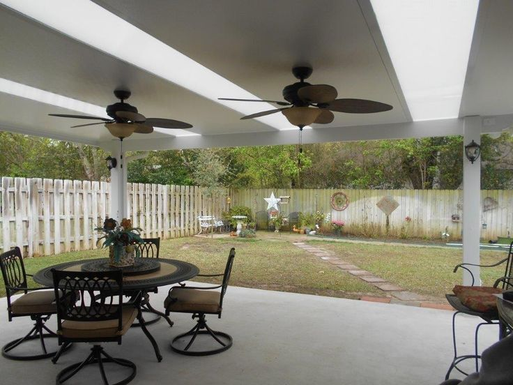 Patio Cover With Skylights And Ceiling Fans.