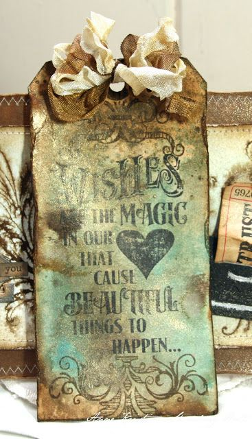 Distressed & Stained Tag...Tim Holz stamp...Anne's paper fun.